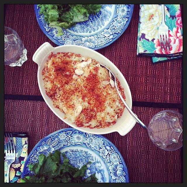 Cauliflower, Pancetta, and Mustard Gratin